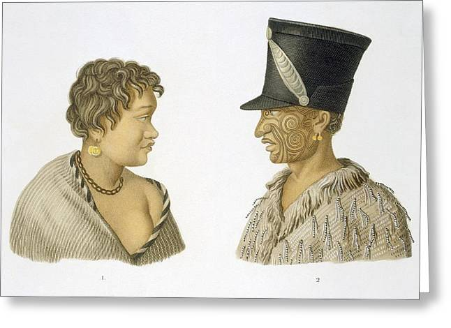 Indigenous Drawings Greeting Cards - Inhabitants Of New Zealand, 1826 Greeting Card by French School