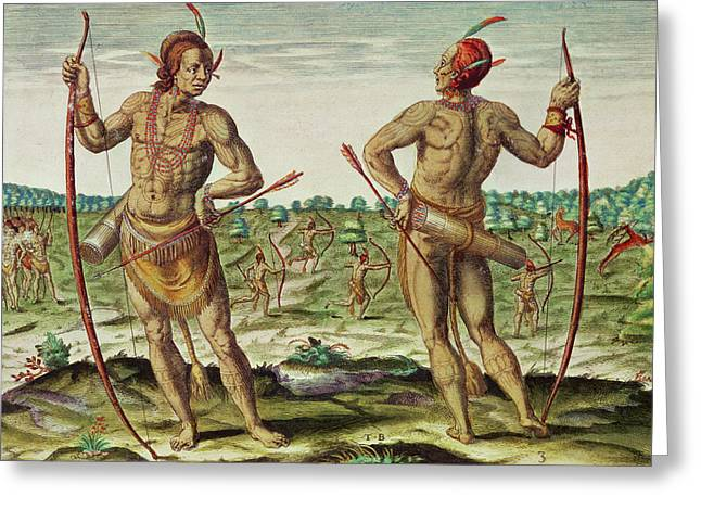 Native Americans Photographs Greeting Cards - Inhabitants Of Virginia, From Admiranda Narratio..., Published By Theodore De Bry Coloured Engraving Greeting Card by Theodore de Bry
