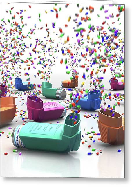 Inhalers And Drugs Greeting Card by Animated Healthcare Ltd