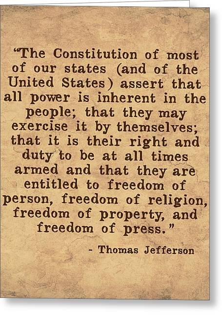 Constitution Greeting Cards - Inherent Power and Freedoms Greeting Card by God and Country Prints