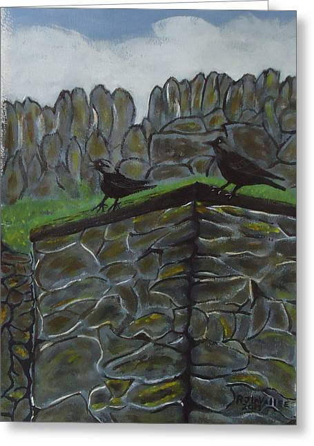 Inis Meain 2 Jackdaw Greeting Card by Roland LaVallee