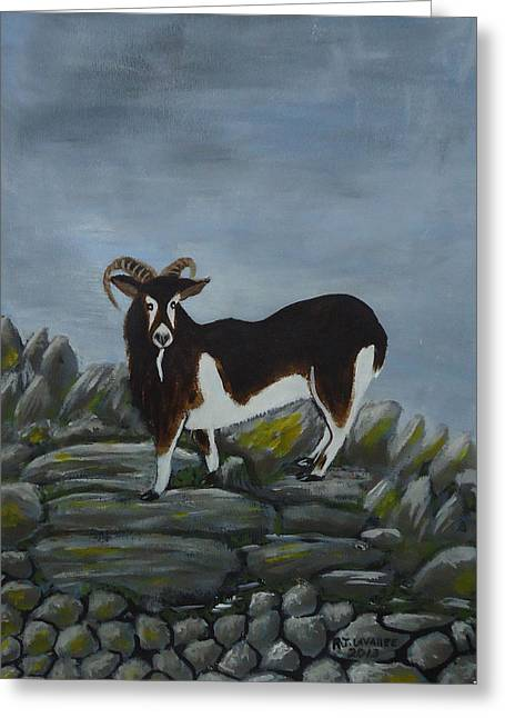 Inis Meain 4 Goat Greeting Card by Roland LaVallee