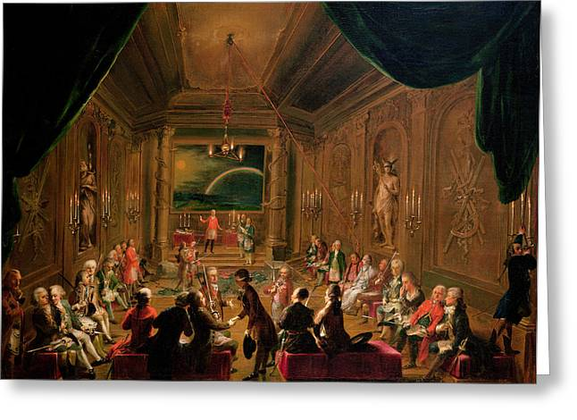 Mozart Greeting Cards - Initiation Ceremony In A Viennese Masonic Lodge During The Reign Of Joseph Ii, With Mozart Seated Greeting Card by Ignaz Unterberger