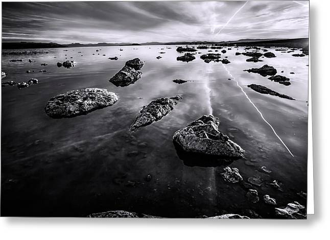Mystical Landscape Greeting Cards - Initiation To Today bw Greeting Card by Denise Dube