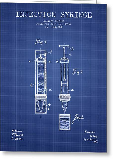 Injections Greeting Cards - Injection Syringe patent from 1904 - Blueprint Greeting Card by Aged Pixel