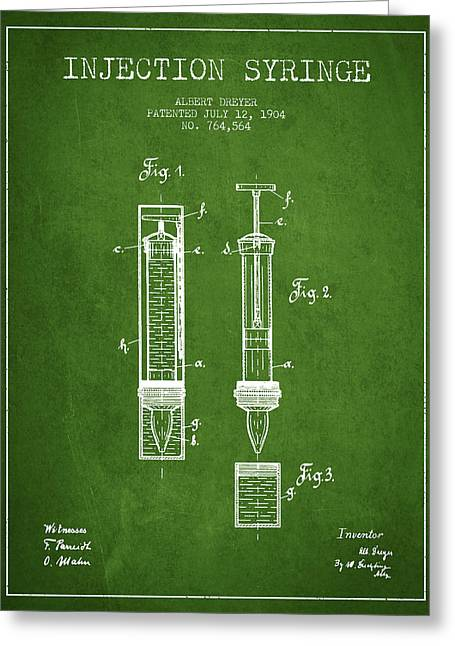 Injections Greeting Cards - Injection Syringe patent from 1904 - Green Greeting Card by Aged Pixel