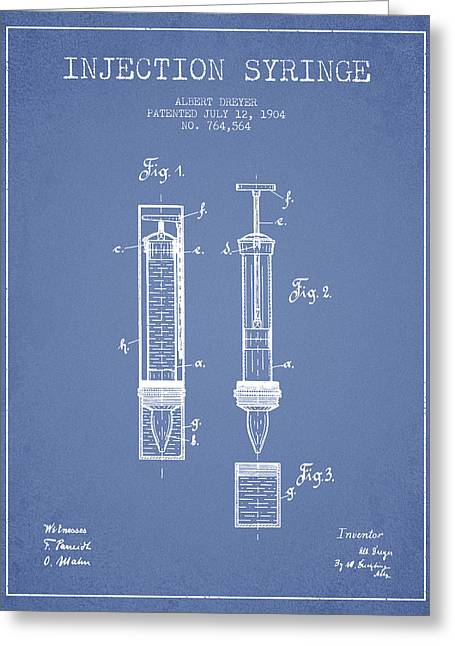 Injections Greeting Cards - Injection Syringe patent from 1904 - Light Blue Greeting Card by Aged Pixel