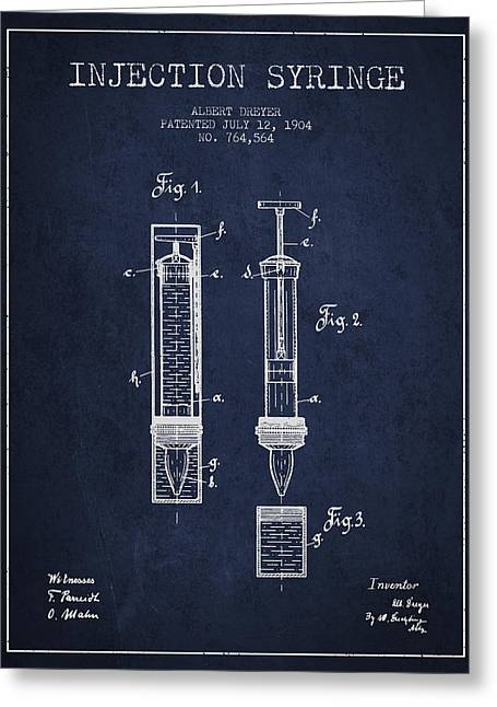 Injection Greeting Cards - Injection Syringe patent from 1904 - Navy Blue Greeting Card by Aged Pixel