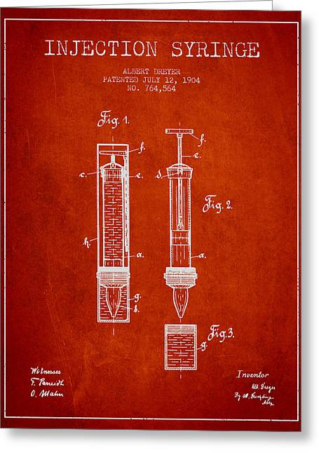 Injections Greeting Cards - Injection Syringe patent from 1904 - Red Greeting Card by Aged Pixel