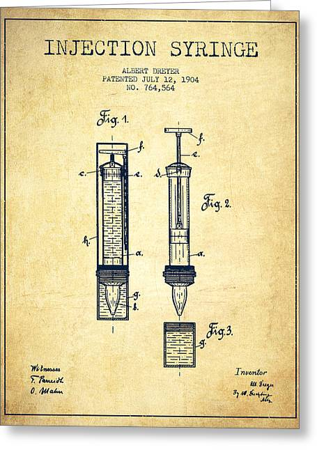 Injections Greeting Cards - Injection Syringe patent from 1904 - Vintage Greeting Card by Aged Pixel