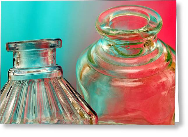 Ink Bottles on Color Greeting Card by Carol Leigh