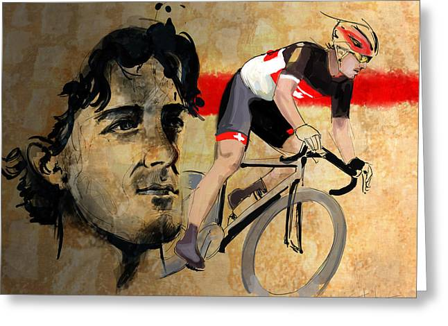 Swiss Greeting Cards - Ink portrait illustration print of Cycling Athlete Fabian Cancellara Greeting Card by Sassan Filsoof