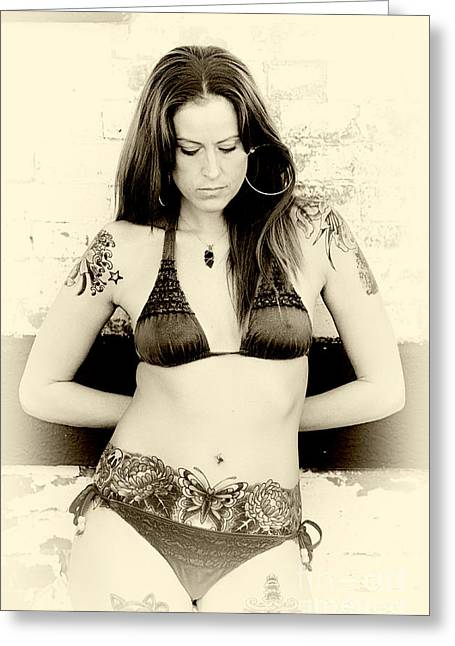 Old School Tattoos Greeting Cards - Inked Thought Greeting Card by John Rizzuto