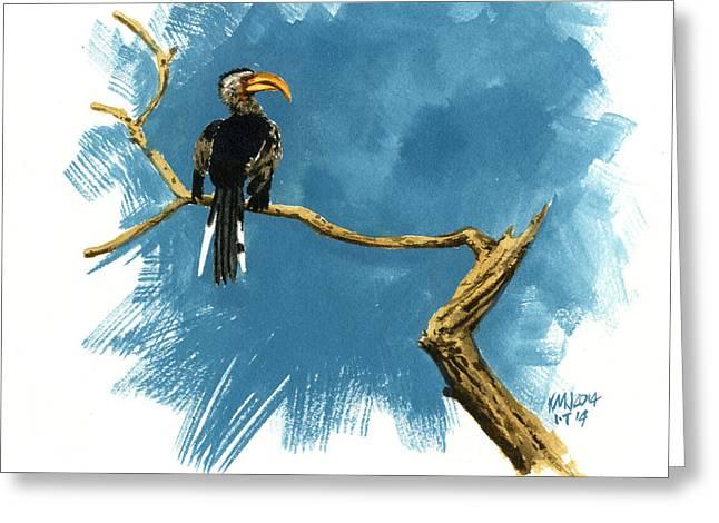 Hornbill Paintings Greeting Cards - Inktober 14 Sentry Greeting Card by Ken Meyer jr