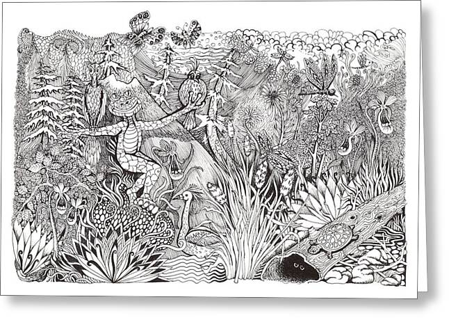 Pen And Ink Drawing Greeting Cards - Inky Orchid Pond Greeting Card by Adria Trail