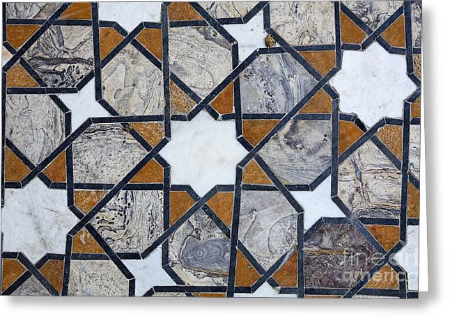Geometric Design Photographs Greeting Cards - Inlaid Marble Floor at Lahore Fort Greeting Card by Robert Preston
