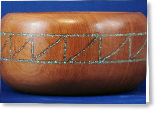 Woodcarving Sculptures Greeting Cards - Inlayed Alligator Juniper Bowl Greeting Card by Russell Ellingsworth
