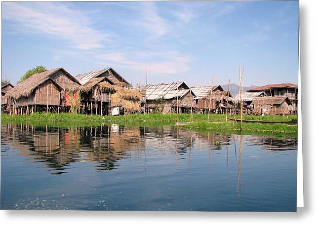 Bamboo House Greeting Cards - Inle Lake of Myanmar Greeting Card by HenryMM