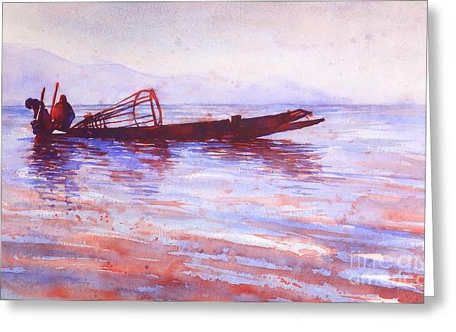 Rowers Paintings Greeting Cards - Inle Lake Rowers- Myanmar Greeting Card by Ryan Fox