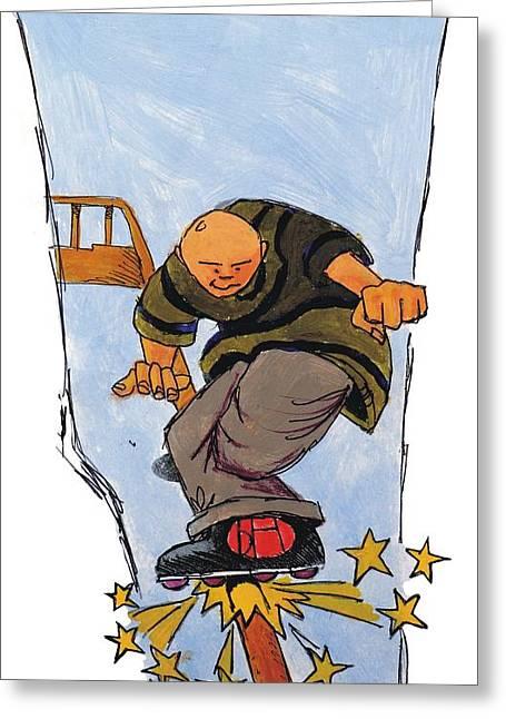 Rollerskate Greeting Cards - Inline Skates Rail Grind Greeting Card by Mike Jory