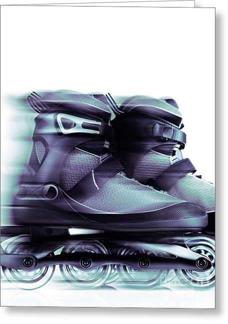 Rollerskate Greeting Cards - Inline skates Rollerblades Artistic dynamic still ife Greeting Card by Oleksiy Maksymenko