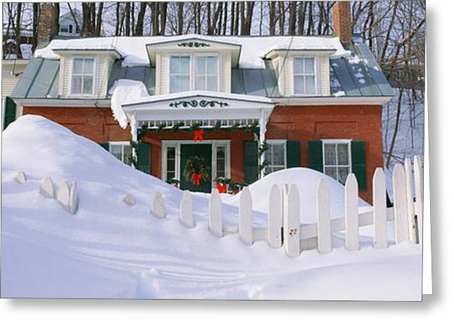 Vermont Photographs Greeting Cards - Inn At Wintertime, Vermont Greeting Card by Panoramic Images