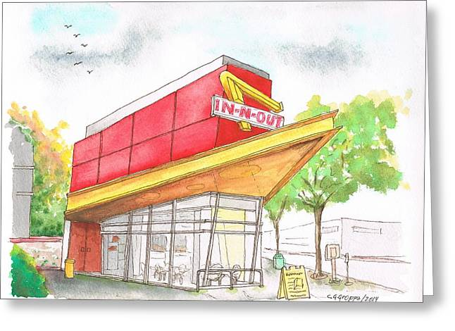 Ocre Greeting Cards - Inn Out Burger in San Francisco - Calfornia Greeting Card by Carlos G Groppa