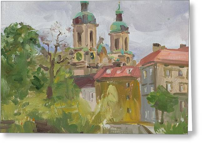Austria Paintings Greeting Cards - Inn River Embankment Greeting Card by Victoria Kharchenko