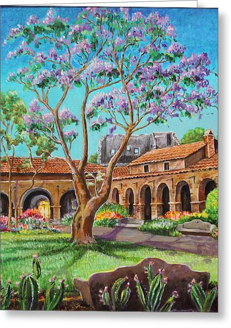 Cement Court Greeting Cards - Inner Court Jacaranda Tree and Ruins of Mission San Juan Capistrano  Greeting Card by Jan Mecklenburg