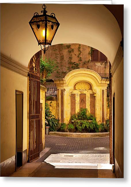 Inner Courtyard And Fountain, Rome Greeting Card by Brian Jannsen