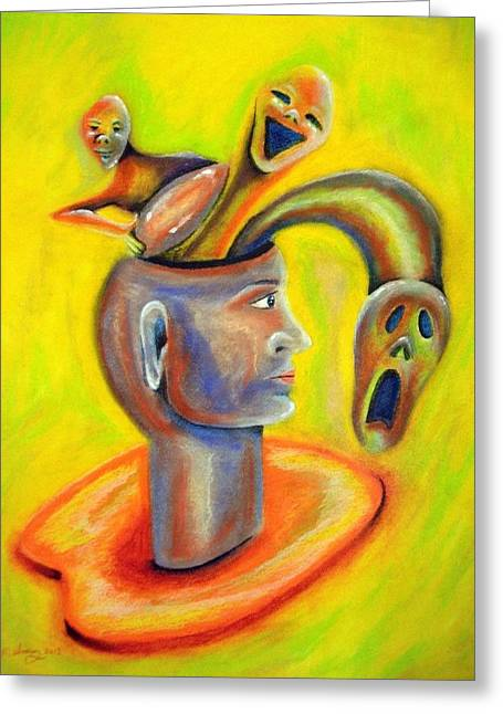 Bright Pastels Greeting Cards - Inner demons Greeting Card by Michael Alvarez