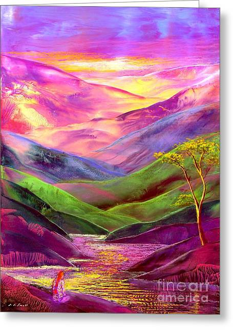 Surreal Fantasy Trees Landscape Greeting Cards - Inner Flame Greeting Card by Jane Small