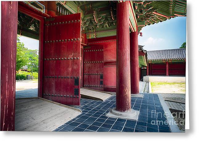 Wooden Building Greeting Cards - Inner Gates  Greeting Card by George Oze