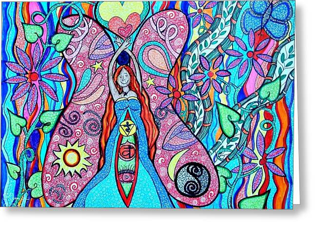 Ying Drawings Greeting Cards - Inner Goddess Greeting Card by Kim Larocque