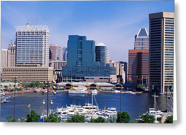 Inner Harbor Federal Hill Skyline Greeting Card by Panoramic Images