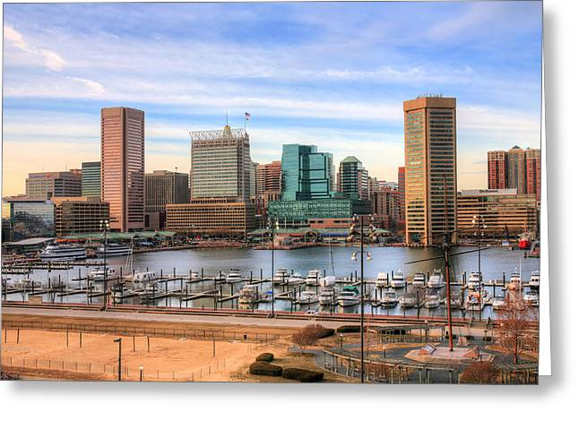 Md Greeting Cards - Inner Harbor Greeting Card by JC Findley