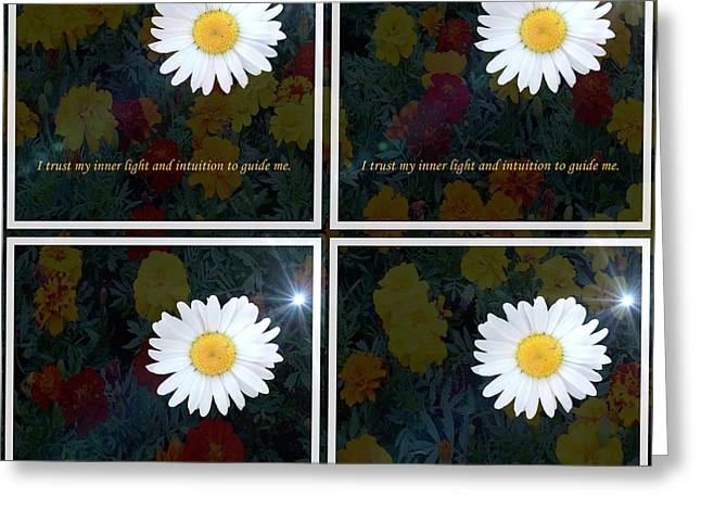 Inner Self Greeting Cards - Inner Light and Intuition To Guide Me With Overlay Greeting Card by Barbara Griffin