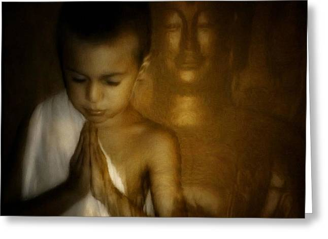 Boy Praying Greeting Cards - Inner light Greeting Card by Gun Legler