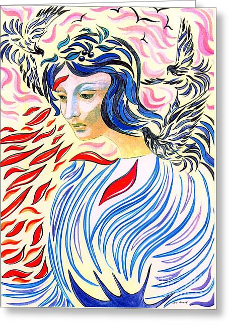 Contemplation Paintings Greeting Cards - Inner Peace Greeting Card by Jane Small