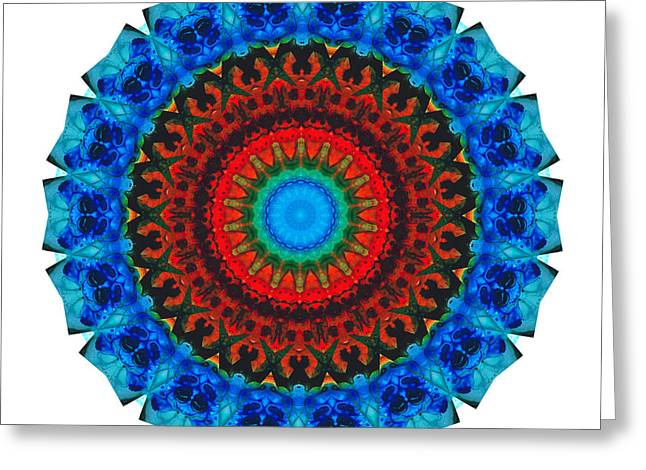 Sacred Greeting Cards - Inner Peace - Kaliedescope Mandala by Sharon Cummings Greeting Card by Sharon Cummings