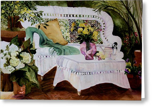 Foot Stool Greeting Cards - Inner Peace Greeting Card by Karen M Scovill