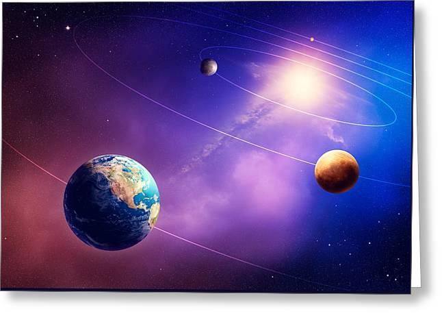 Circling Greeting Cards - Inner solar system planets Greeting Card by Johan Swanepoel