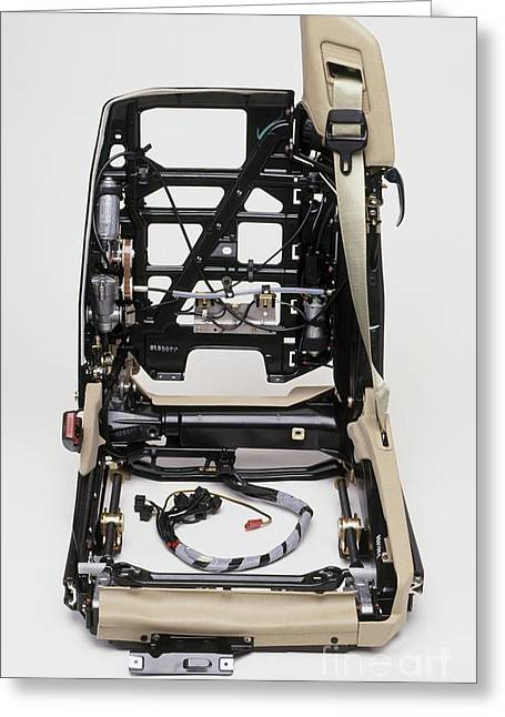 Automated Photographs Greeting Cards - Inner Workings Of A Car Seat Greeting Card by Dave Rudkin / Dorling Kindersley