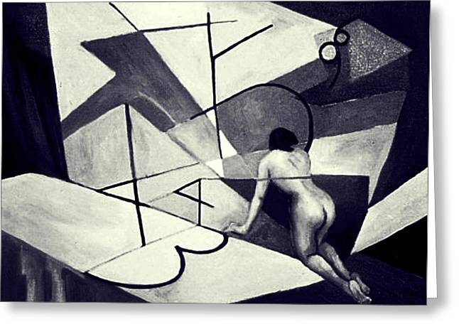 Inner World in black and white Greeting Card by Nancy Wait