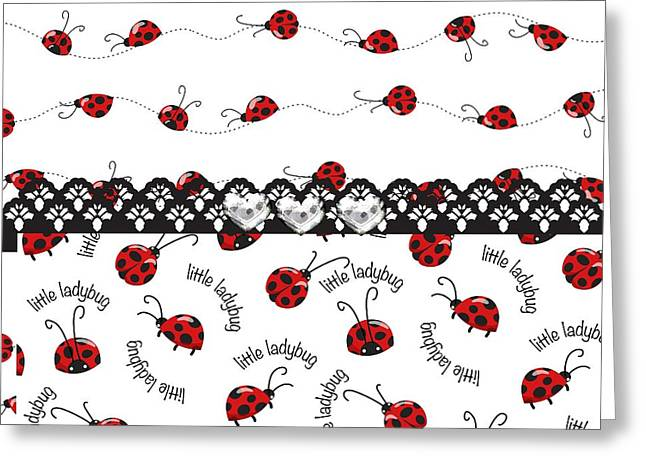 Innocent Ladybugs  Greeting Card by Debra  Miller