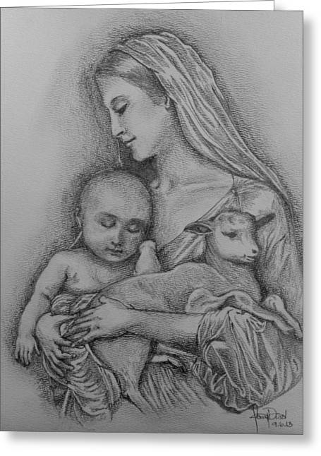 Catholic Art Drawings Greeting Cards - Inocente  Greeting Card by Fanny Diaz