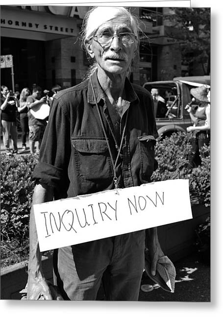 Protest Greeting Cards - Inquiry Now b Greeting Card by Jerry Cordeiro