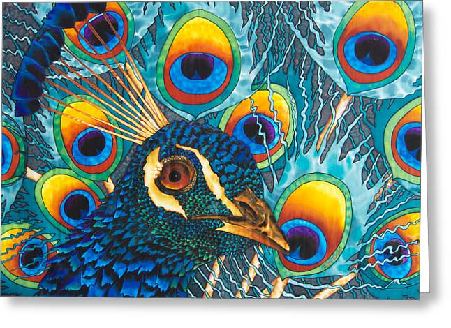 Silk Art Tapestries - Textiles Greeting Cards - Insane Peacock Greeting Card by Daniel Jean-Baptiste
