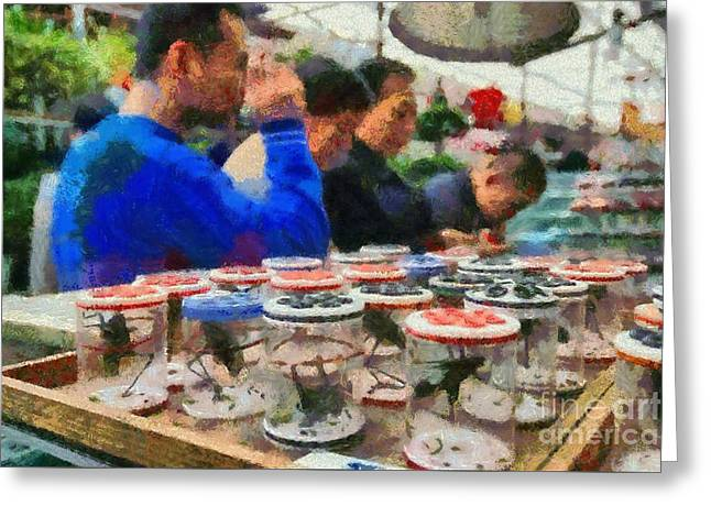Cricket Paintings Greeting Cards - Insect market in Shanghai Greeting Card by George Atsametakis