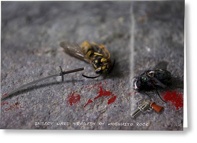 Flys Greeting Cards - Insect Wars - Tragedy at Mosquito Rock Greeting Card by Dan Daulby